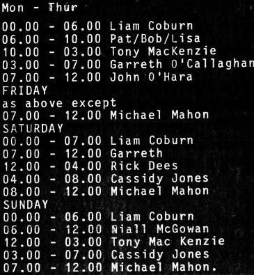 Energy 103 schedule September 1987