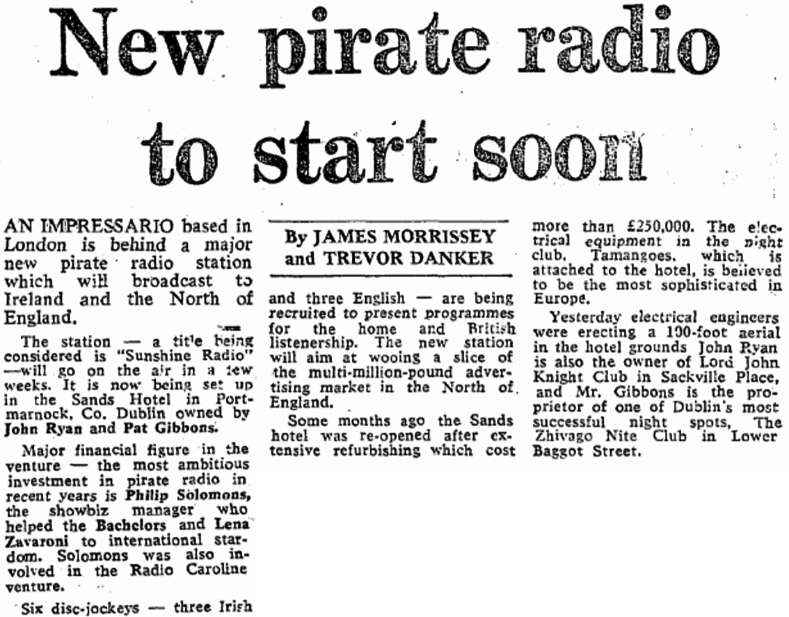 New pirate radio to start soon was a newspaper headline from The Sunday Independent dated September 14th 1980