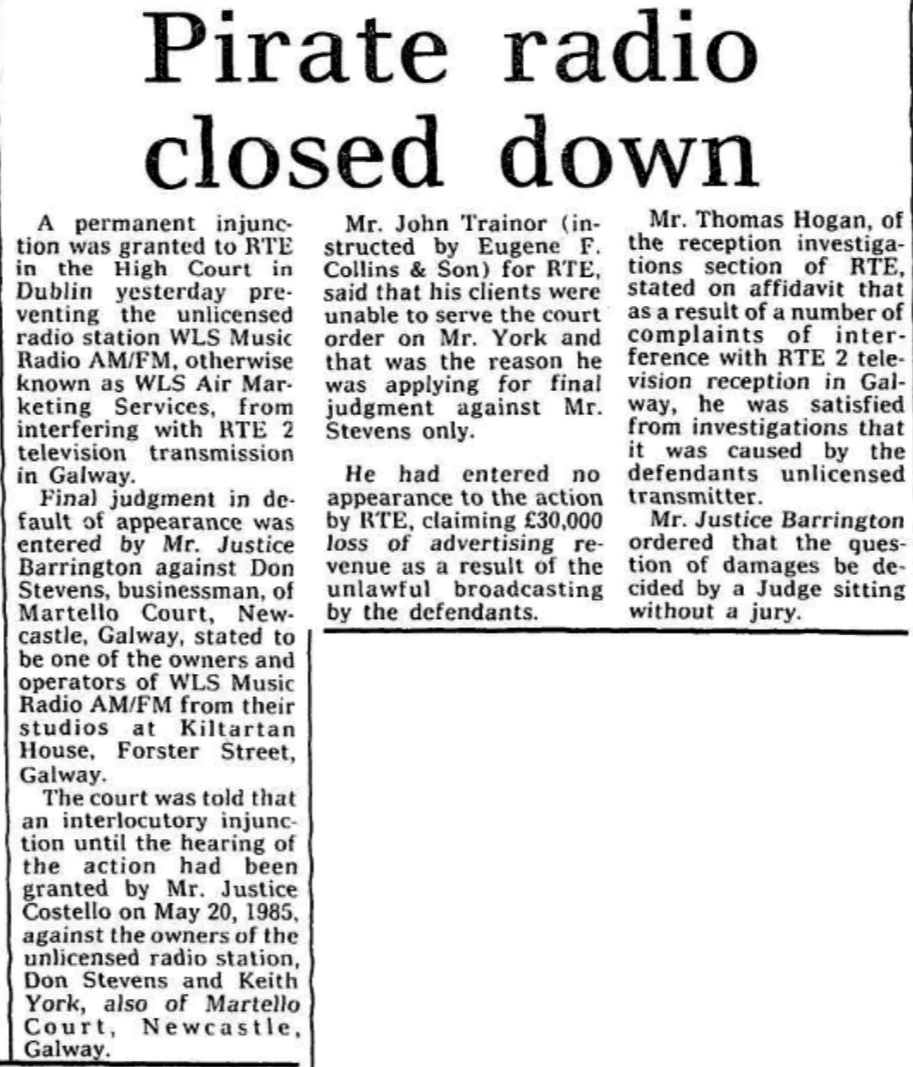 Pirate radio closed down was a headline from The Cork Examiner dated June 14th 1986