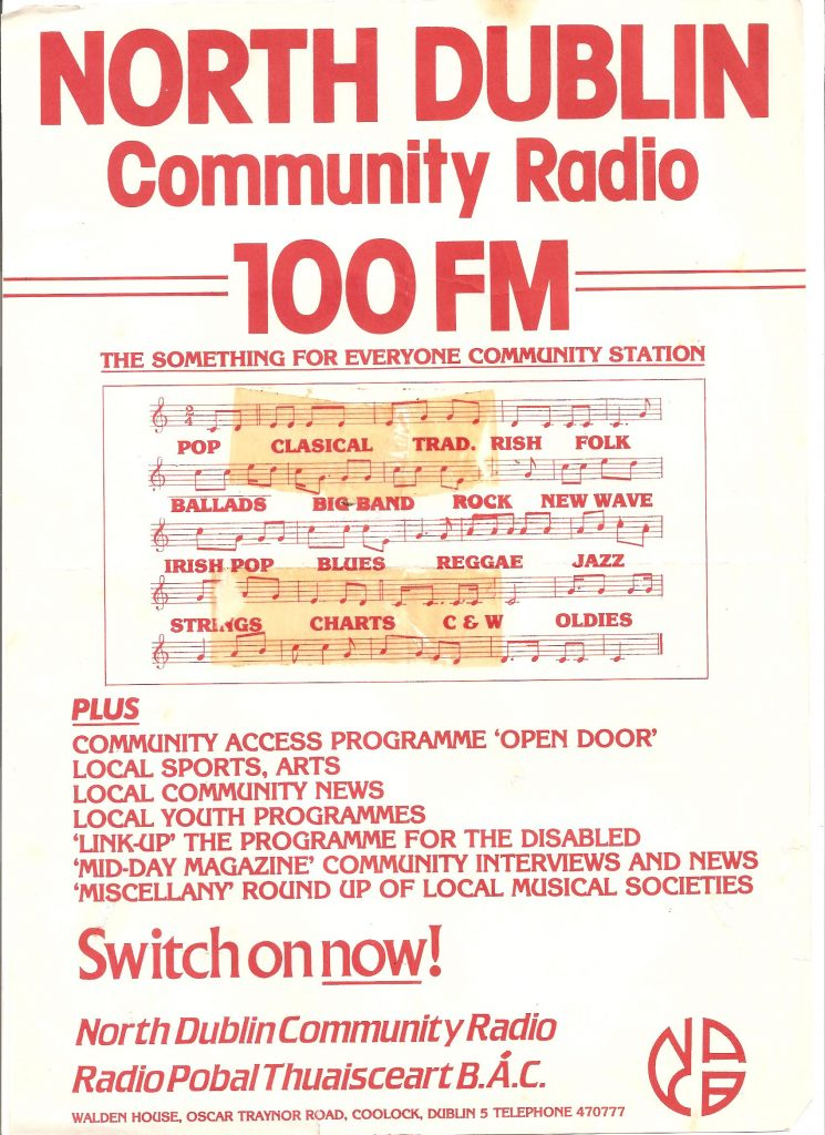 From November 1986 this is a recording of North Dublin Community Radio off 100FM.