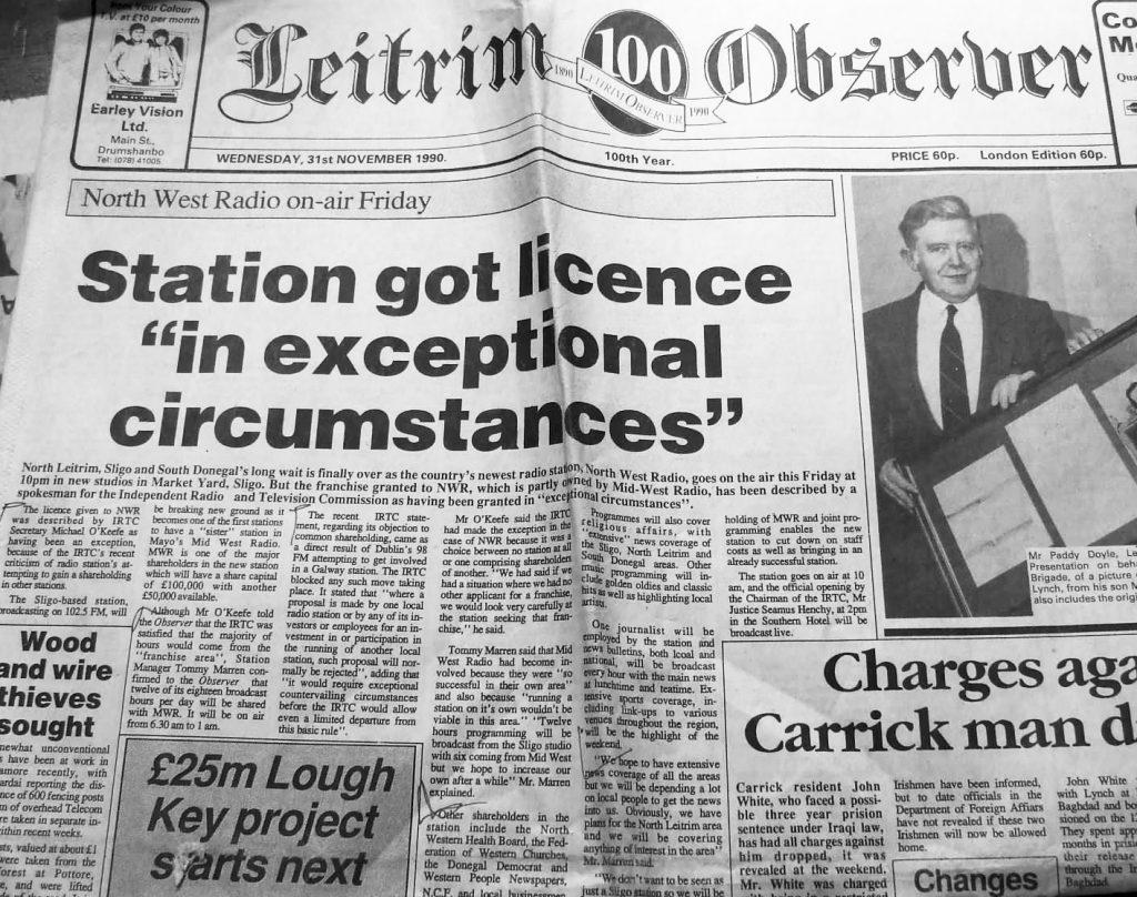 Leitrim Observer - October 31st 1990 - North West Radio launch