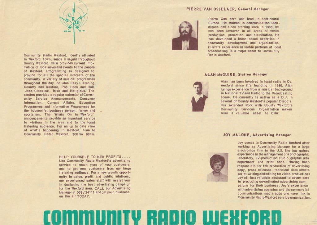 Community Radio Wexford leaflet
