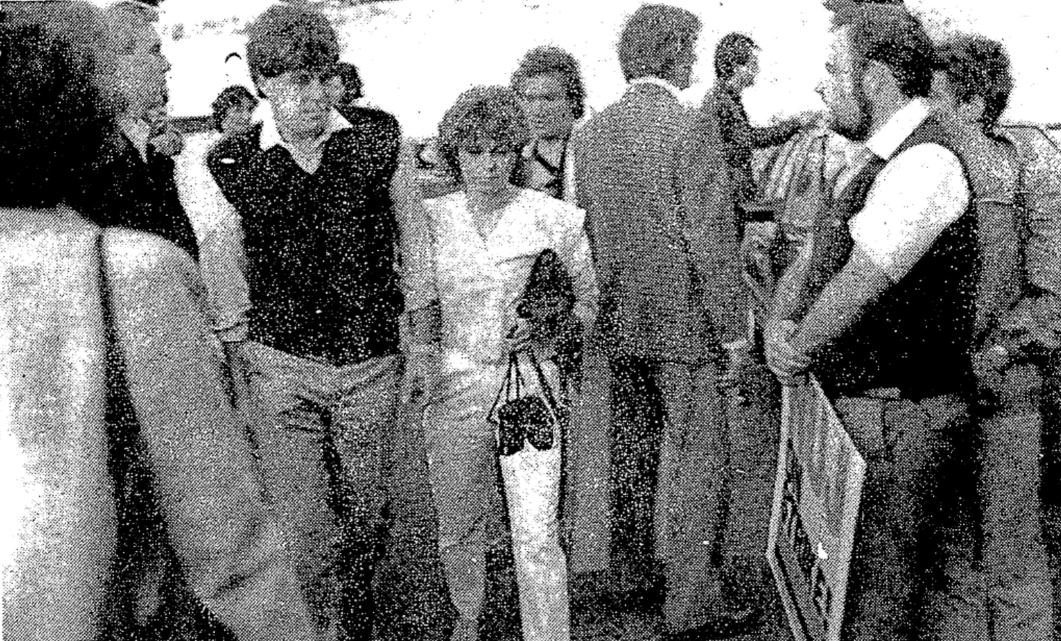 """Irish Press of July 28th 1984. The text accompanying it says: """"The owner of the illegal radio station Radio Nova Mr Chris Carey accompanies Ms Sybil Fennell through a picket of members of the National Union of Journalists with whom he is in dispute at last night's opening of a night club in association with the pirate station. The dispute, over Union recognition, has been going on since February."""