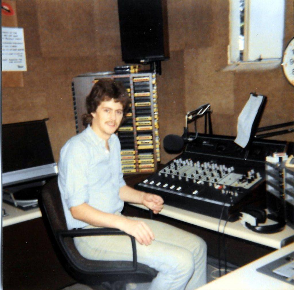 Denis Murray in the Kiss FM studio