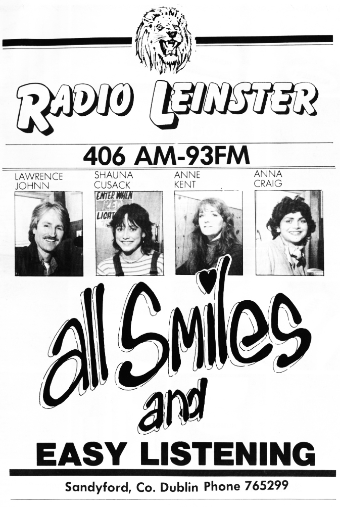 Radio Leinster was a pirate station which appeared on test on April 14th 1981, officially launching on May 1st.