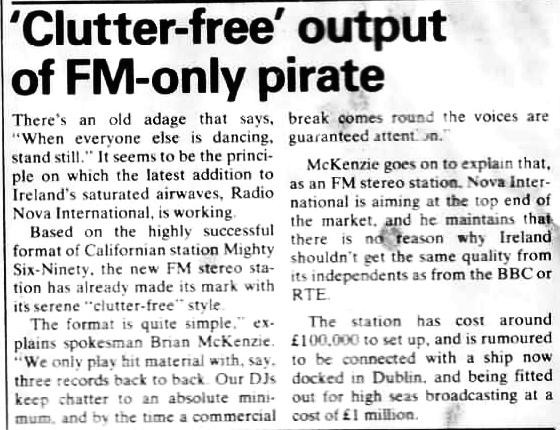 Radio Month - August 1981, article about Radio Nova