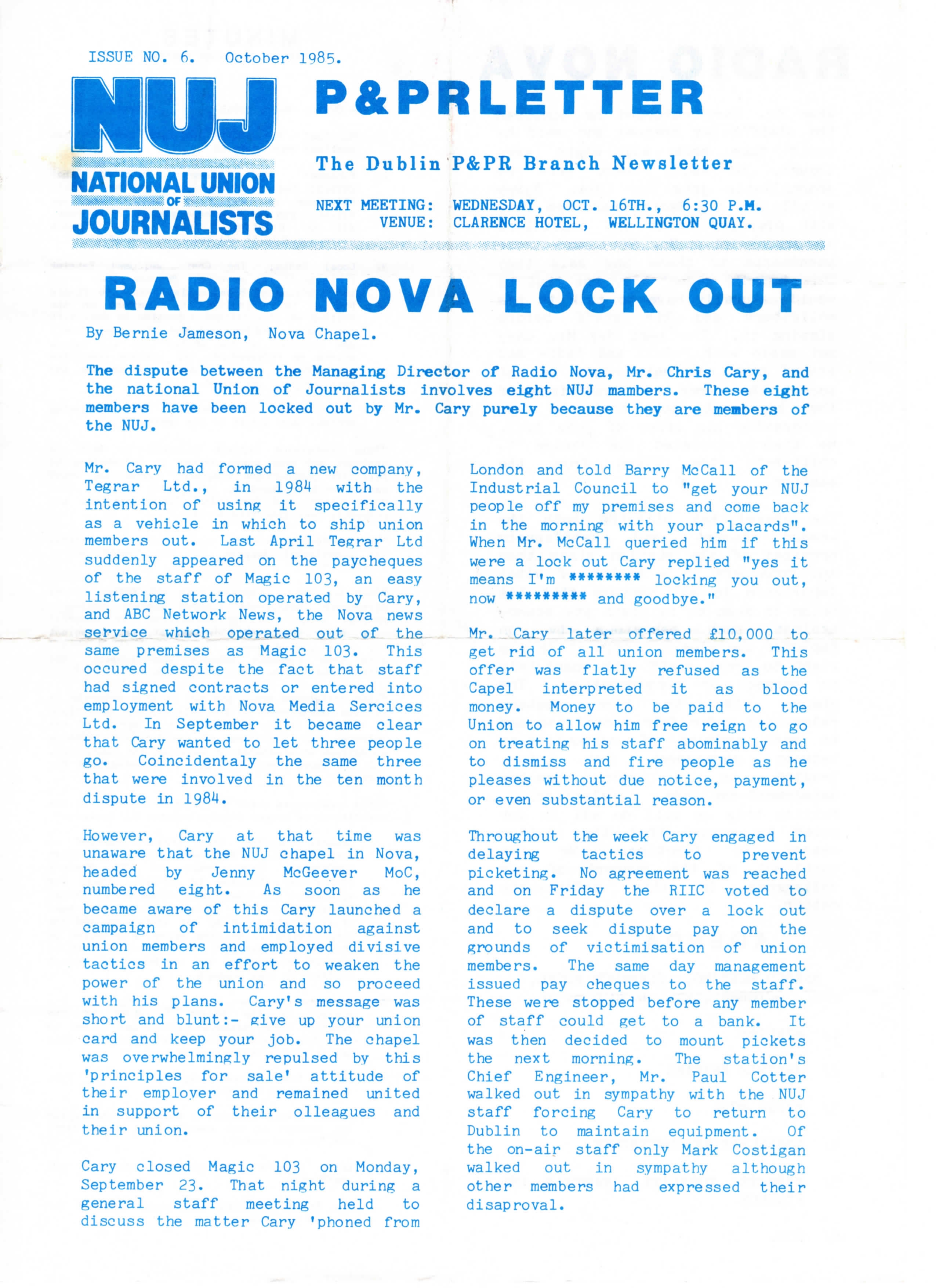 NUJ Newsletter Radio Nova