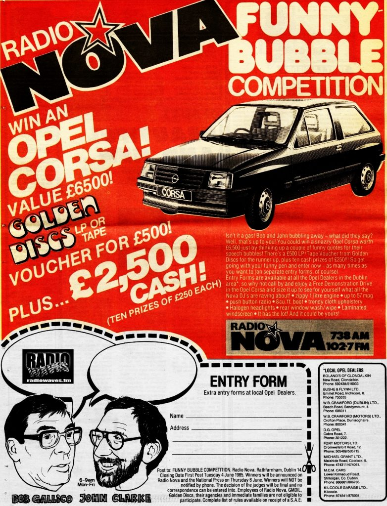 Entry form for the Nova Funny Bubble competition