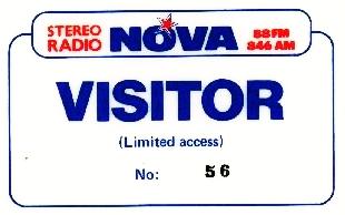 Radio Nova visitor's pass