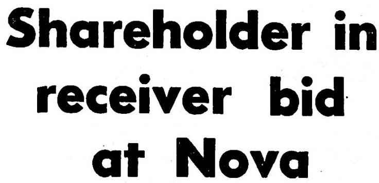 Shareholder in receiver bid at Nova