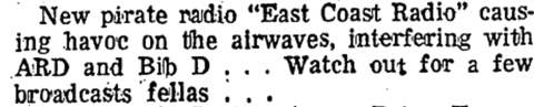 East Coast Radio appeared in the Crumlin area of Dublin on 262m late in 1978. A 1979 move to Walkinstown led to the station's closure. The personnel behind the station went on to launch Downtown Radio from Capel Street in Dublin city. This eventually became Radio City.