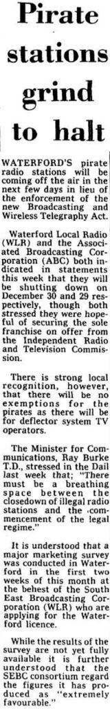 Pirate stations grind to a halt - Cork Examiner December 23rd 1988