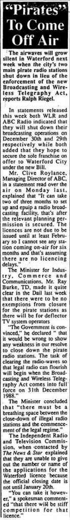 Pirates to come off air - Waterford News December 23rd 1988