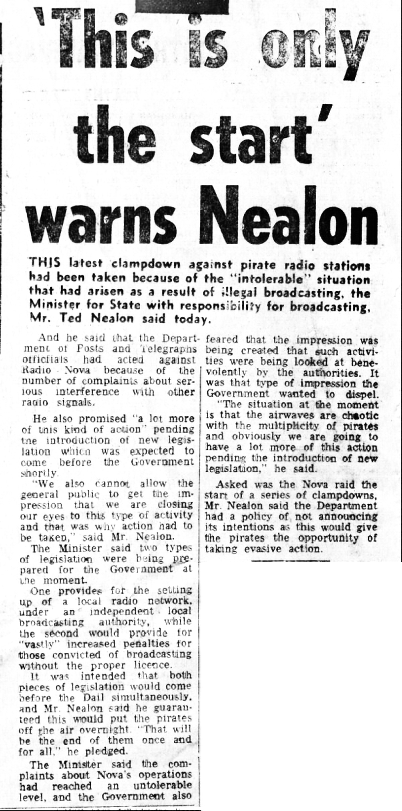 Radio nova raid - this is only the start warns Nealon