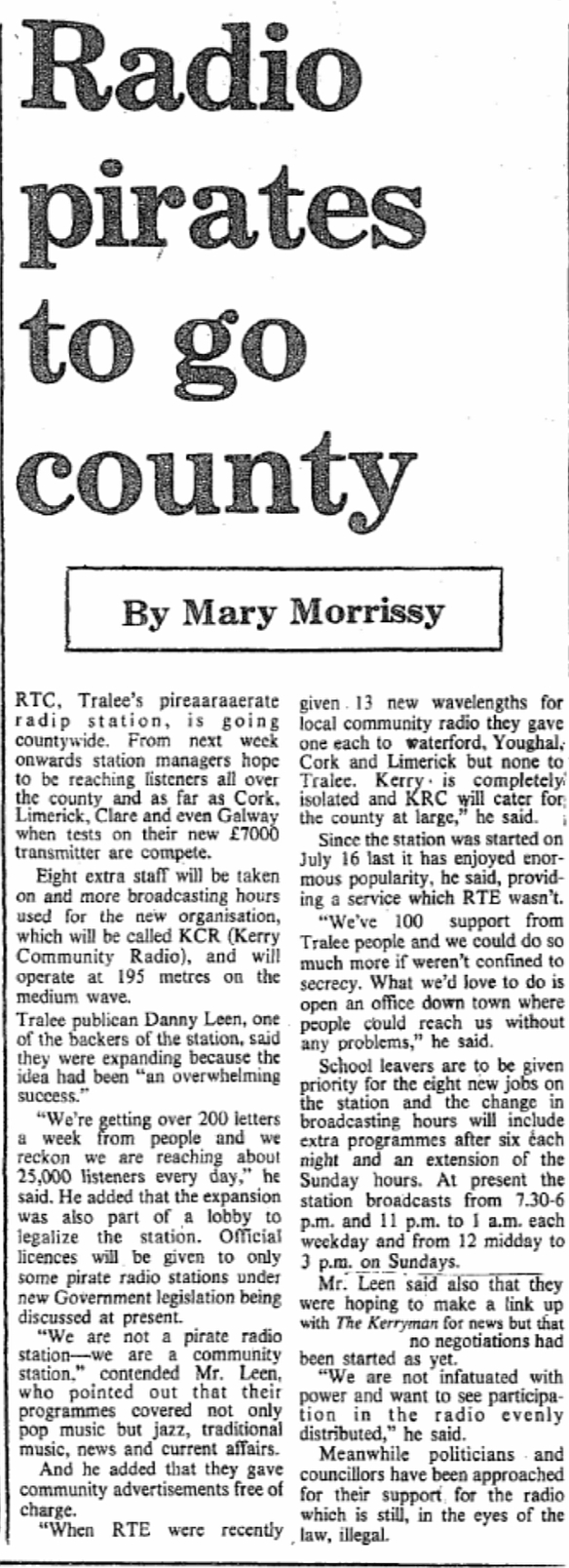 Radio pirates to go county was a headline in The Kerryman dated December 8th 1978