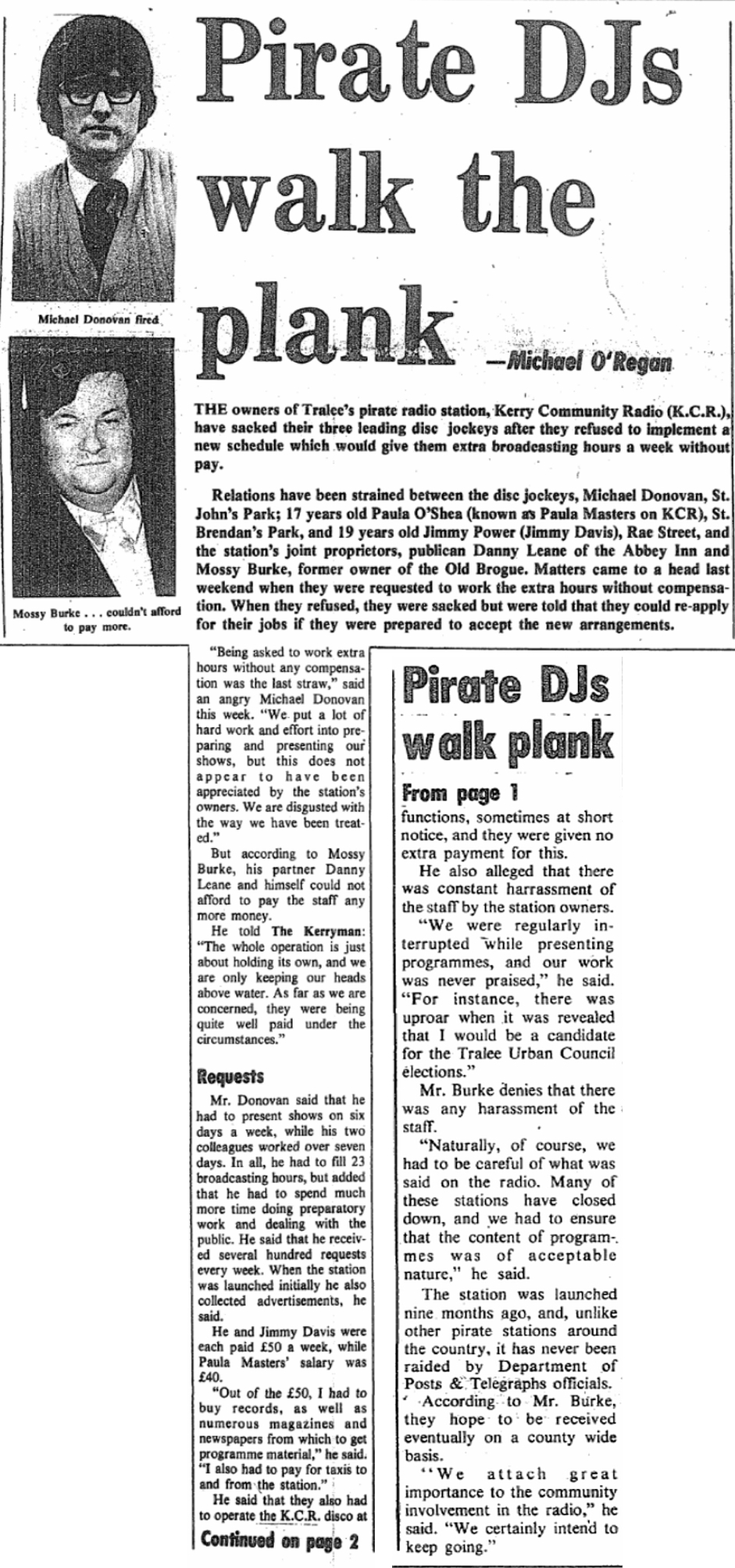 Pirate DJs walk the plank was a headline in The Kerryman dated February 9th 1978