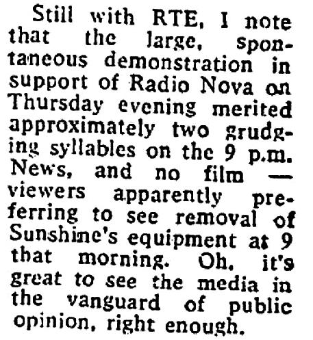 Liz Ryan's TV Review - RTÉ News Sunshine Raid, Radio Nova closedown