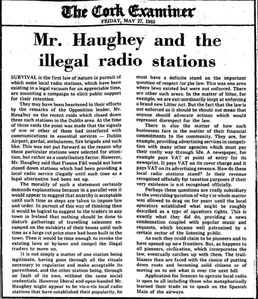 The Cork Examiner - 1983 pirate radio raids