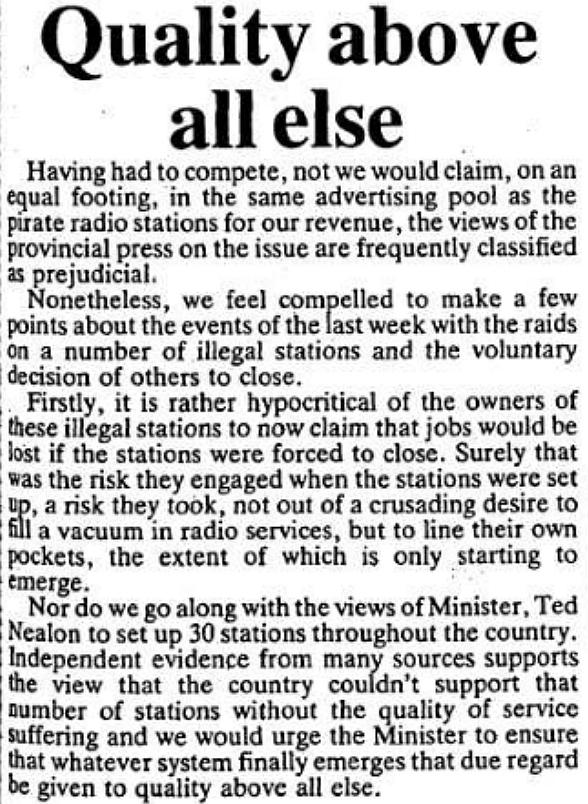 Drogheda Independent 1983 Radio Nova raid
