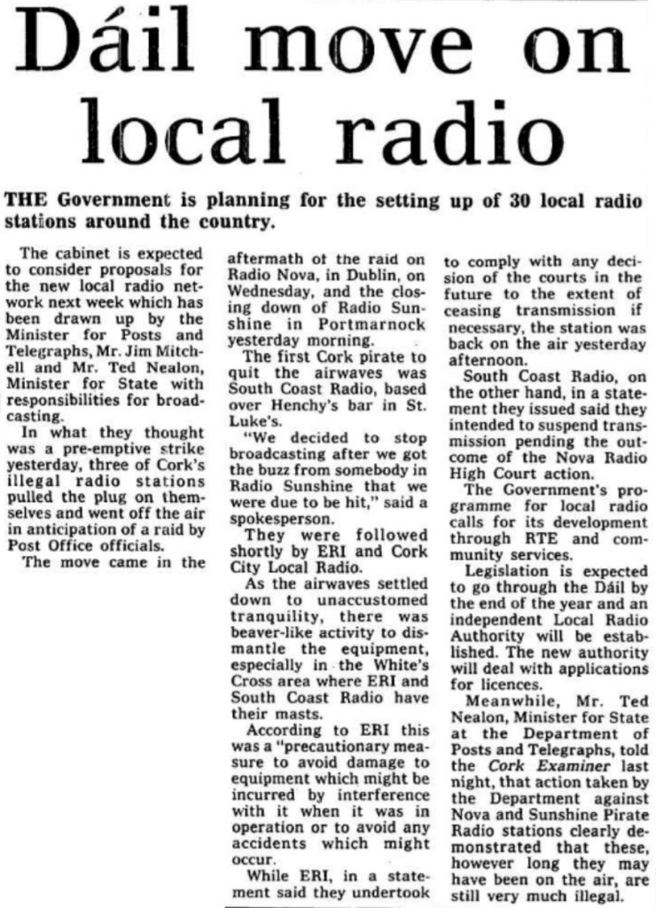 Cork Examiner May 20th 1983 -  Dáil move on local radio