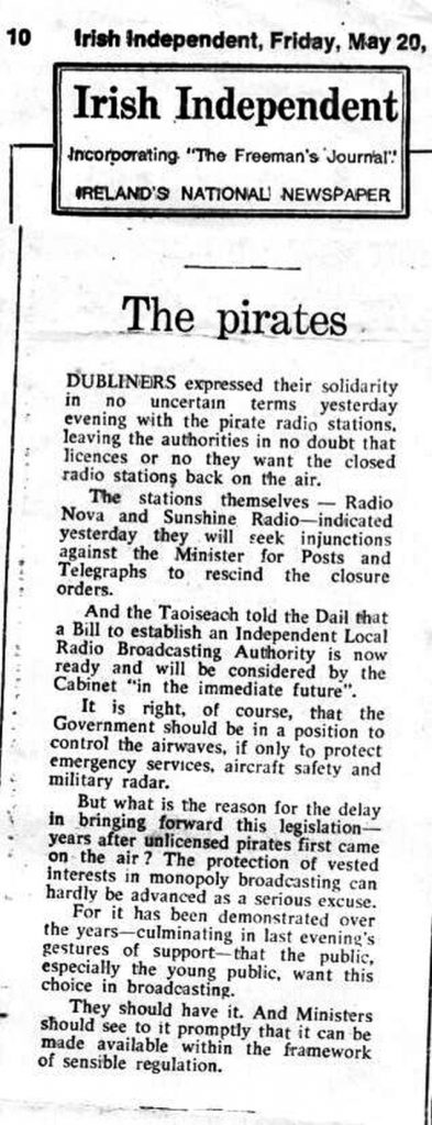 Irish Independent May 20th 1983 -  Editorial: The pirates
