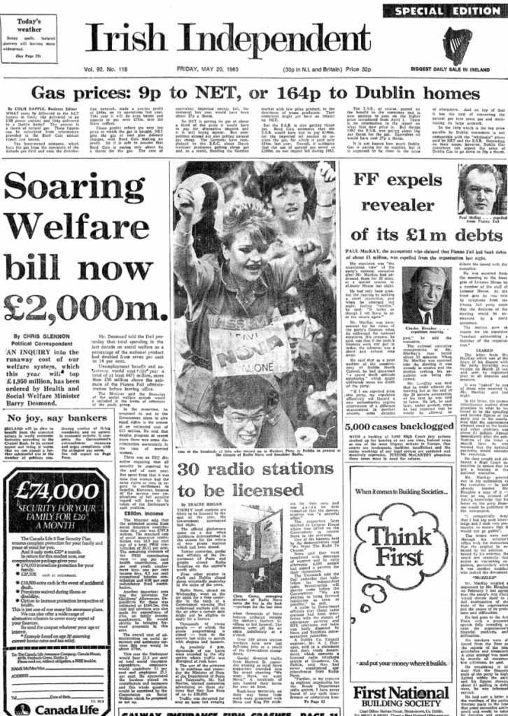 Irish Independent front page from May 20th 1983 - Radio Nova closedown