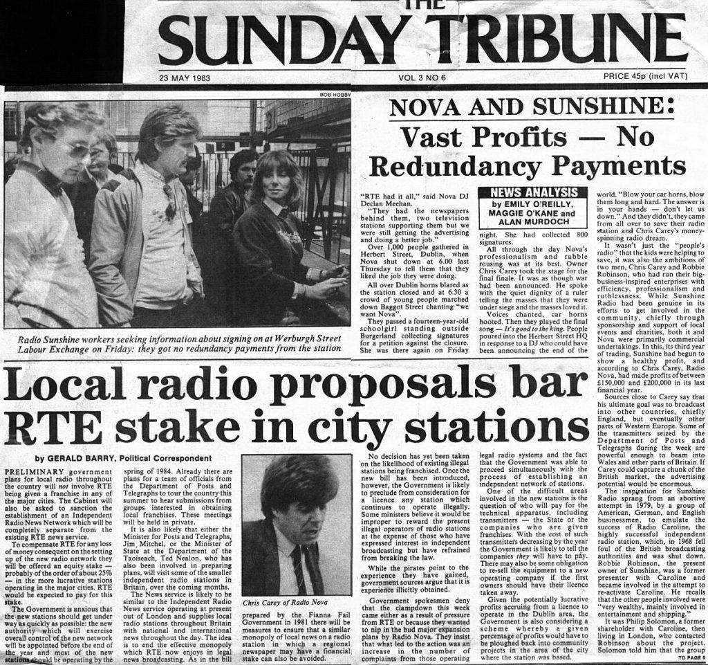 Sunday Tribune Raids on Radio Nova and Sunshine Radio