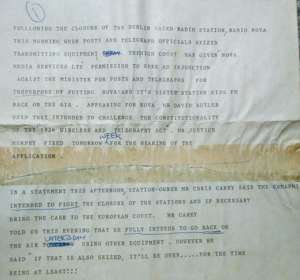 South Coast Radio news script as read on the radio in May 1983 reporting pn the raid on Radio Nova