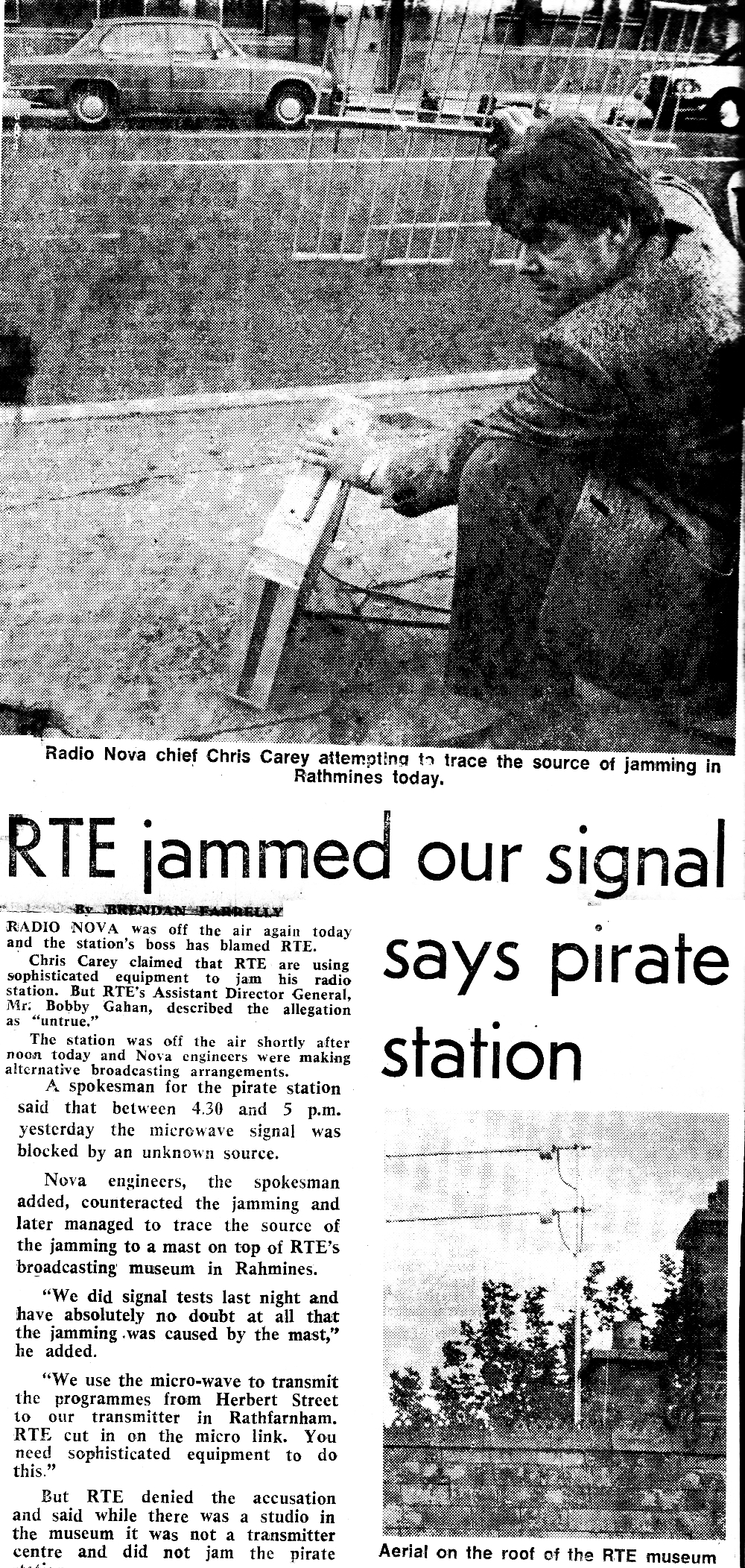 Radio Nova celebrates one year on air with a birthday surprise from RTÉ. From June 29th 1982, this is a recording of the Dublin station as they were forced to use an alternative to their main microwave link from Herbert St. The main link was under attack from signals emanating from an RTÉ-owned building in Rathmines. The jamming had started the day before but lasted just 30 minutes.