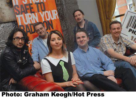 Phantom's weekday line-up: L-R (back) Sinister Pete, John Caddell, Jack Hyland; (front) Edel Coffey, Simon Maher, Neill Austin.