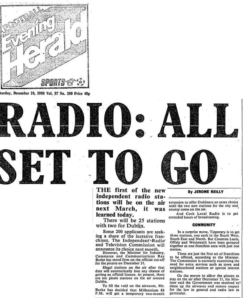 Radio: all set to go - Evening Herald - December 10th 1988