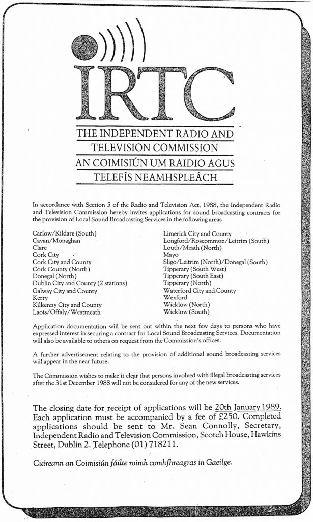 IRTC franchise ad - Irish Independent - December 13th 1988