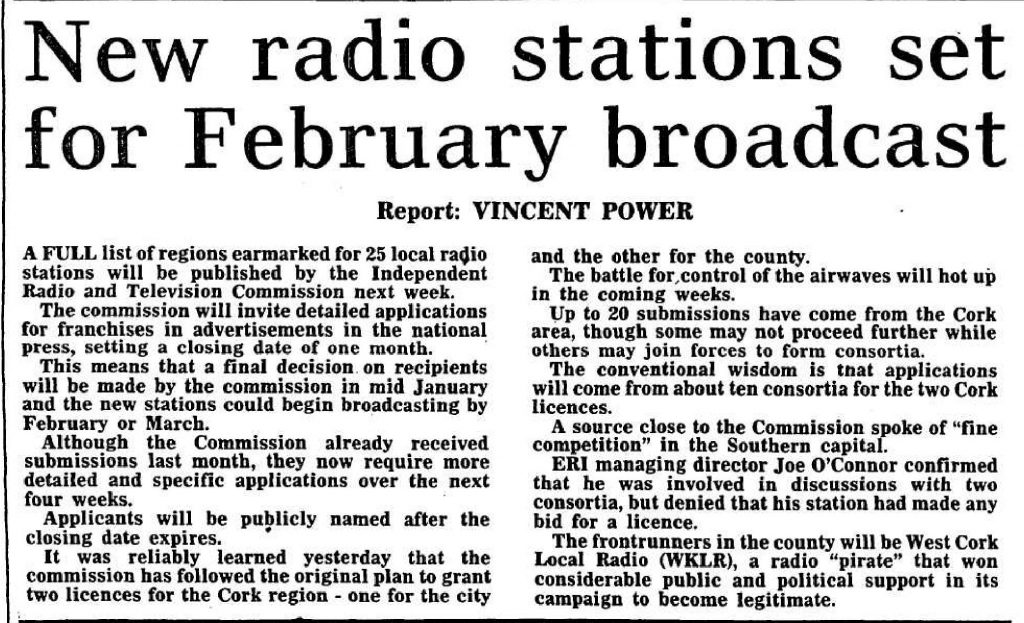 New radio stations set for February broadcast - Cork Examiner - December 10th 1988
