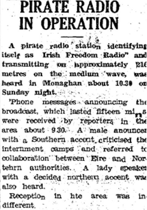 Pirate radio in operation was a headline from The Argus dated January 24th 1959