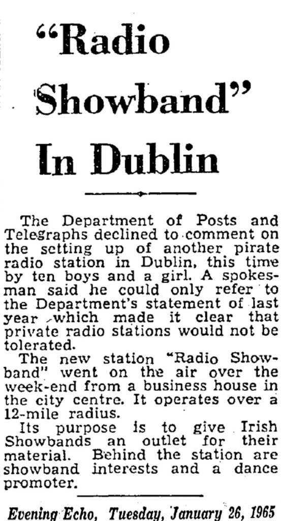 Radio Showband in Dublin was a headline from The Evening Echo dated January 26th 1965