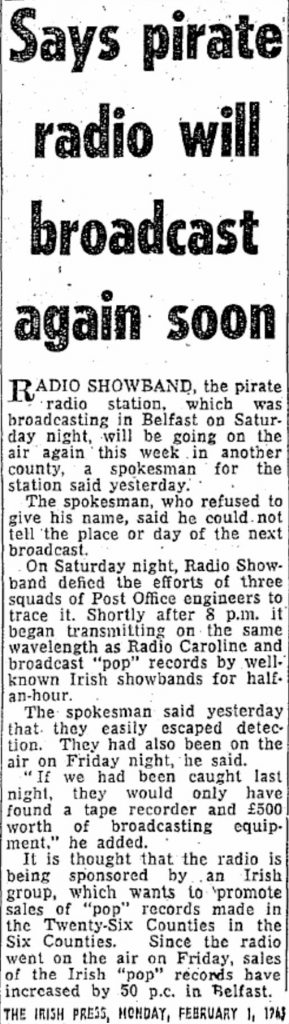 Says pirate radio will broadcast again soon was a headline from The Irish Press dated February 1st 1965