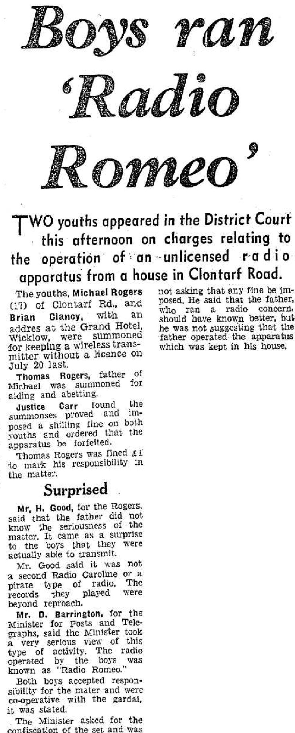 Boys ran Radio Romeo was a headline from The Evening Herald from January 18th 1966.