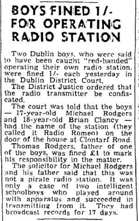 Boys fined 1/- for operating radio station was a headline from The Cork Examiner from January 19th 1966.