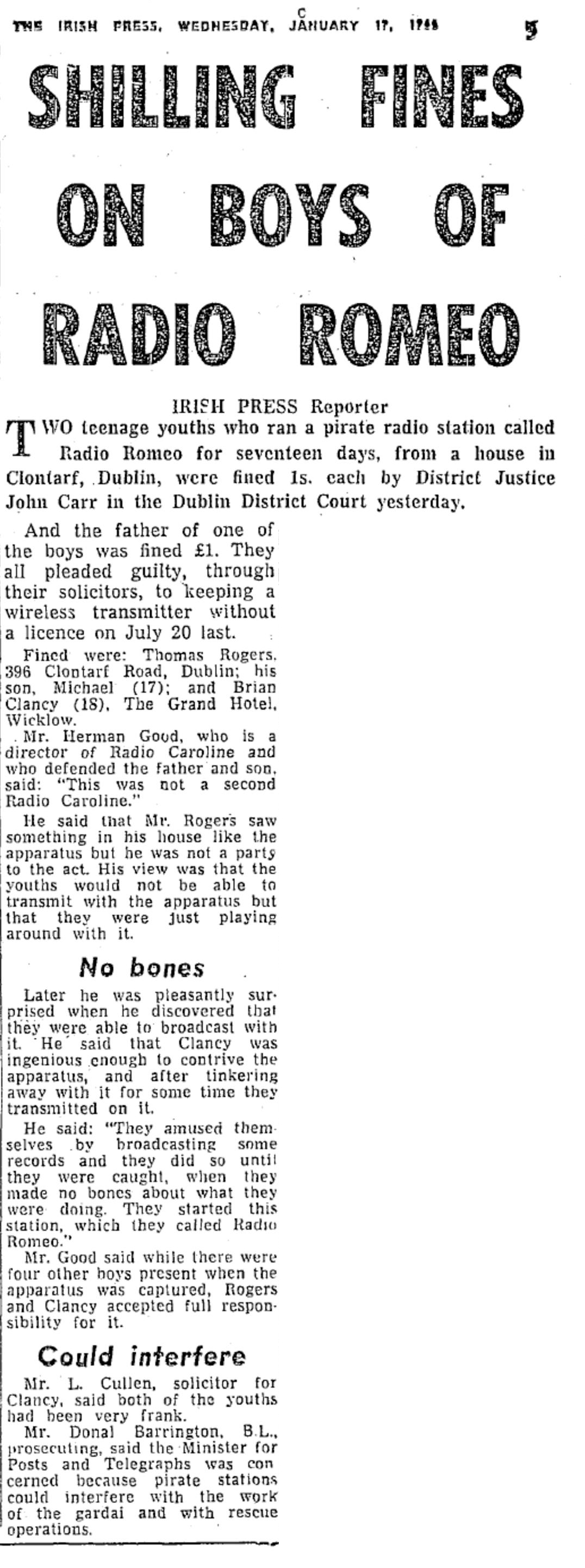 Shilling fines on boys of Radio Romeo was a headline from The Irish Press from January 19th 1966.