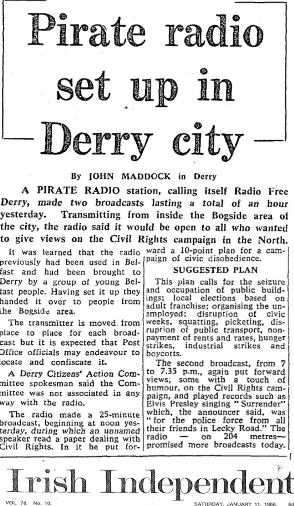 Pirate Radio Set Up in Derry City was a headline from The Irish Independent from January 11th 1969