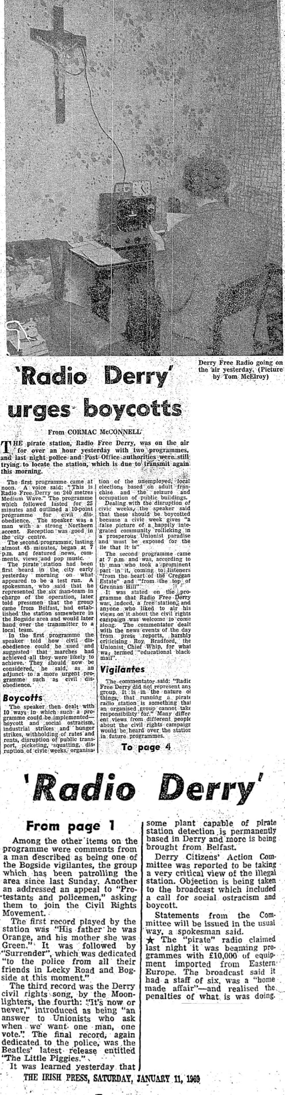 Radio Derry Urges Boycotts was a headline from The Irish Press from January 11th 1969