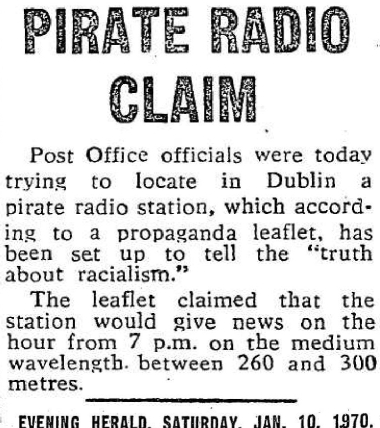 Pirate Radio Claim was a headline from The Evening Herald dated January 10th 1970