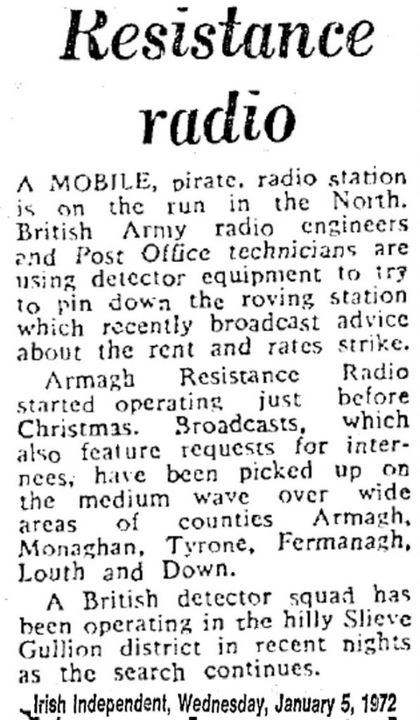 Resistance Radio was a headline from The Irish Independent from January 5th 1972