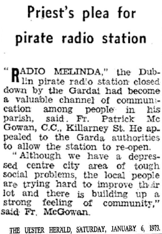 Priest's Plea for Pirate Radio Station was a headline from The Ulster Herald from January 6th 1973