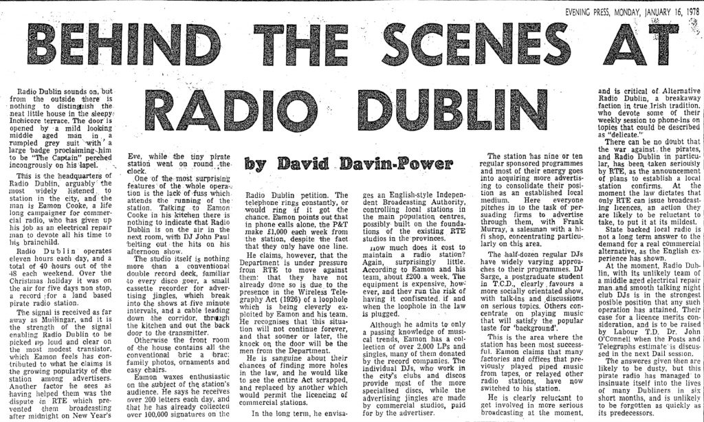Behind the scenes at Radio Dublin was a headline from The Evening Press dated January 16th 1978.
