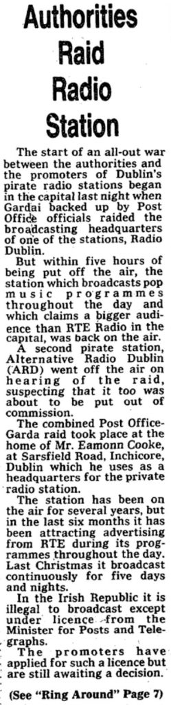 Authorities raid radio station was a newspaper headline from The Evening Echo dated January 18th 1978