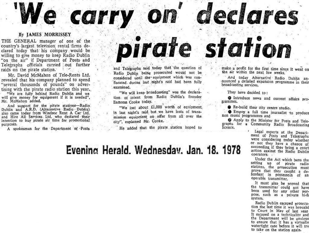 We carry on declares pirate station was a newspaper headline from The Evening Herald dated January 18th 1978