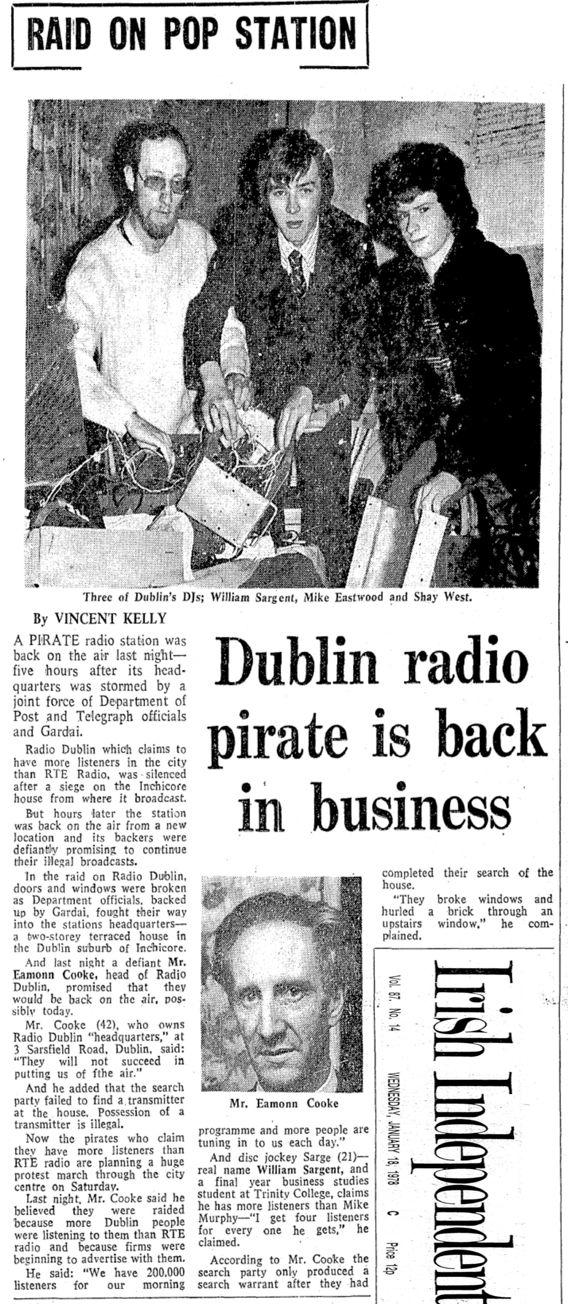 Raid on pop station was a newspaper headline from The Irish Independent dated January 18th 1978