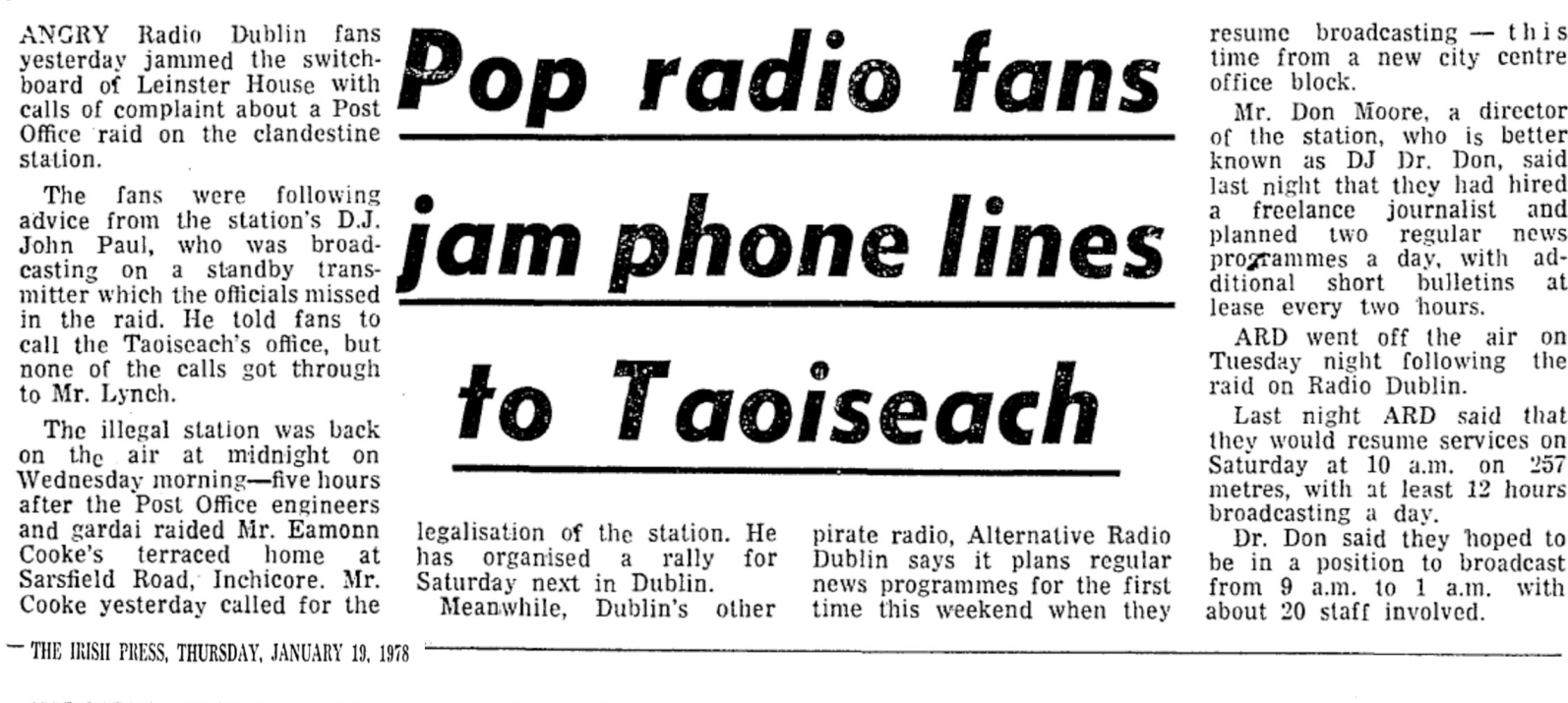 Pop radio fans jam phone lines to Taoiseach was a newspaper headline from The Irish Press dated January 19th 1978