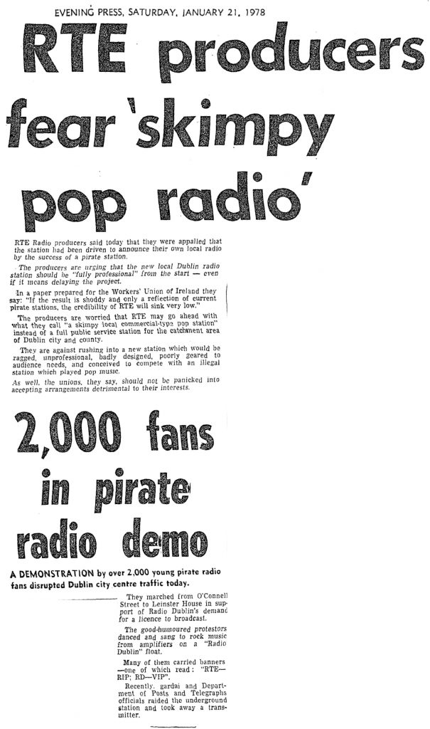 RTÉ producers fear skimpy pop radio was a newspaper headline from The Evening Press dated January 21st 1978